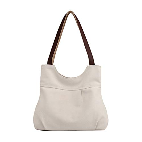 Lonson Women's Small Canvas Tote Purse Top Handle Handbags Beige One Size ()