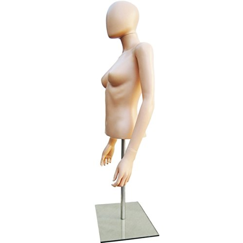 Female Table Top Torso Mannequin Form W/ Abstract Egg Head Style and Adjustable Height Flesh (EFT1) Made By OM®