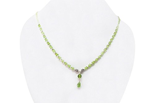 Handmade Peridot Beads Necklace Strand with 925 Silver findings 16