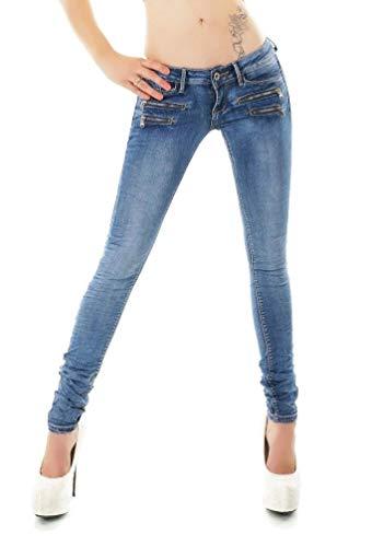 Noir Triple XXX Women's Skinny Low Waist Jeans Slim Stretch Denim Pants Sizes UK 4-12