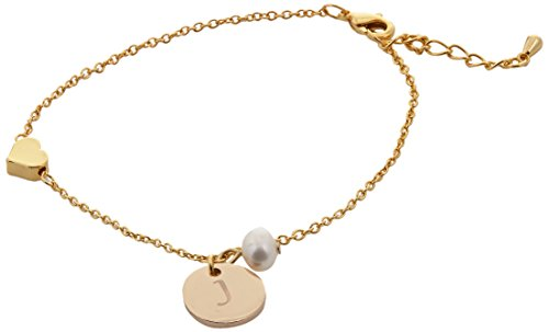 Charms Initial Additional (Cathys Concepts Bridesmaid Heart and Pearl Initial Charm Bracelet Gold, J)