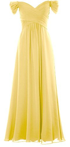 MACloth Women Off the Shoulder Long Prom Dress Chiffon Wedding Party Formal Gown Canary