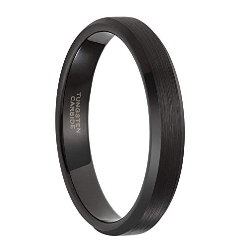 Frank S.Burton 4mm Black Tungsten Ring for Men Women Thin Brushed Wedding Band Size 11 ... ...