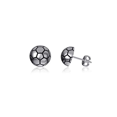 Dayna Designs Soccer Ball Post Earrings - Sterling Silver Jewelry Small for Women/Girls
