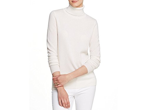 Bloomingdales Cashmere - C By Bloomingdale's Fringe Trim Turtleneck Cashmere Sweater Winter White
