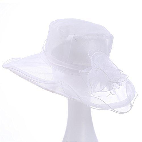57a6f39d699d5 Lemon-Zacker Women s Hat Ketucky Derby Hats Large Wide Brim Gauze Hat  (White)