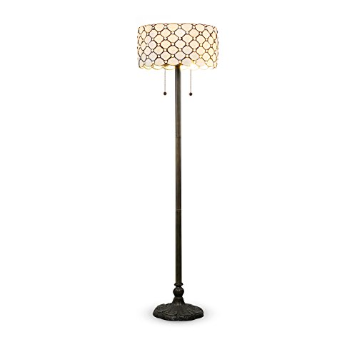 Serena D'italia Tiffany Style White Contemporary Floor Lamp, Diamond Pattern Stained Glass Lamp with Jewels, Standing Lamp, Double Pull Chain (White) by Kershaw
