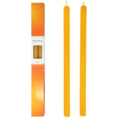 Votprof Set of 2 Natural 100% Pure Raw Beeswax Taper Candles (14