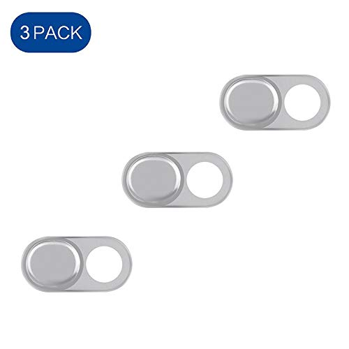 E-TRENDS 3-Pack Aluminum Webcam Cover - Ultra Thin Slide Cover Privacy Protector for Laptops, MacBook, PC, Smartphones, iPad, iPhone and More - Silver