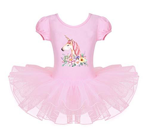 HenzWorld Unicorn Leotard Gymnastics Ballet Dancing Dress Girls Princess Birthday Party Outfit Pink -