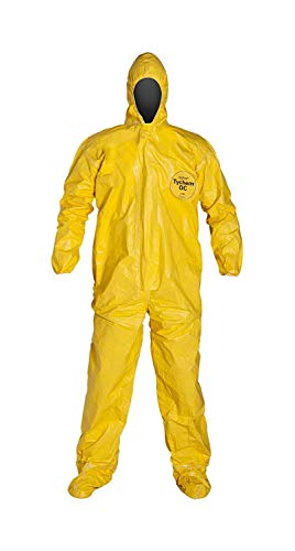 Attached Hood Boots - DuPont QC122SYL2X00 Tychem QC Chemical Protection Coveralls with Serged Seams, Front Zipper Closure, Attached Hood & Sock Boots, Elastic Face & Elastic Wrists, 2X, Yellow