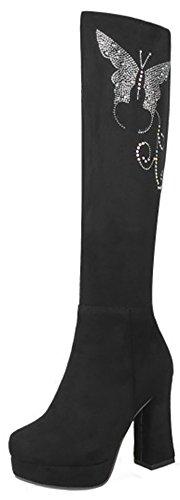 Women's Round Toe Platform Shoes Fashion Party High Heels Black - 4