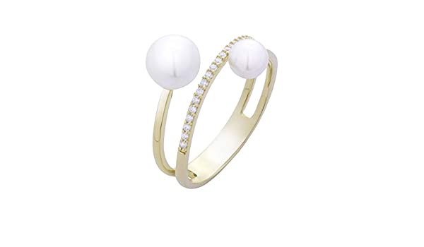 Chic Jewels RG2003-7 Sterling Silver 925 Double Pearl Ring With Cubic Zirconia For Ladies,Round Pearls 925 Stamped