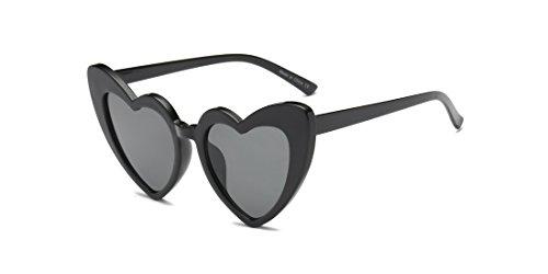 Cramilo Women Heart Shaped Sunglasses Fashion Cute Cat Eye Mod Style Retro Glasses