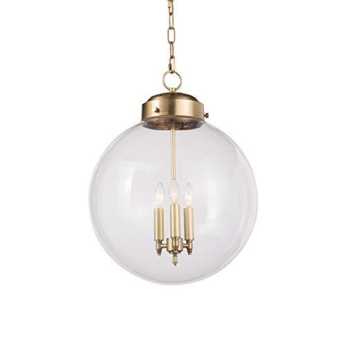 Regina Andrew Globe 25 Watt Max Brass and Glass 3 Socket Ceiling Pendant Fixture ()