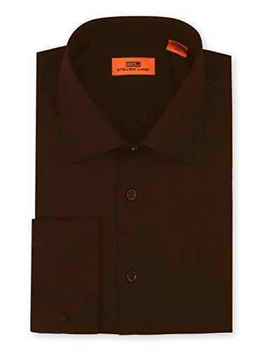 Steven Land Men's Signature Solid Poplin Dress Shirt 100% Cotton French Cuff Also Available Big and Tall Brown