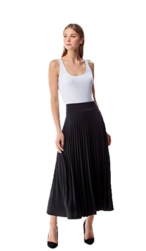 MoDDeals Women's High Waist A-Line Below The Knee Flared Midi Skirt Stretch Woven (Large, Pleat Long ()