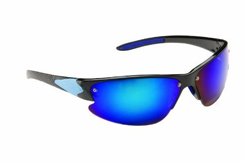 c0adbbf19f Image Unavailable. Image not available for. Colour  Men s Black   Blue Wrap  Around Sunglasses with Reflective Polycarbonate Shatterproof Lenses ...
