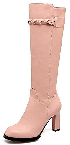 Idifu Femmes Mode Haute Chunky Talons Carrés Orteil Mi-mollet Bottes Longues Chaussons Déquitation Avec Fermeture À Glissière Latérale Rose