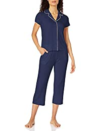 Amazon Brand - Mae Women's Notch Collar Pajama Set with Embroidered Trim