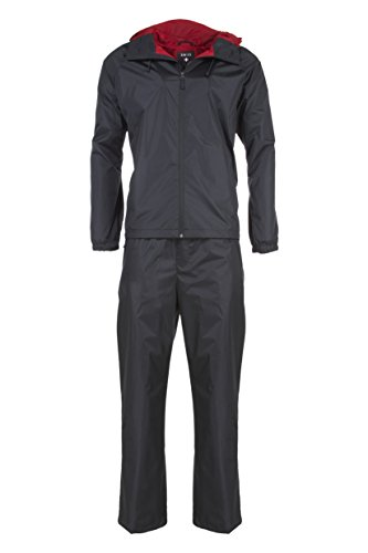 Swiss Alps Mens Ripstop Water-Resistant 2 Piece Rain Suit Black XL
