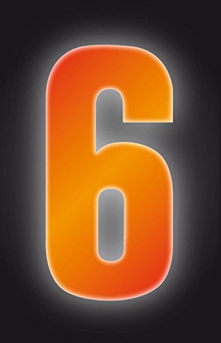 Self Adhesive Wheelie Bin Numbers 17cm - 6 - High Visibility Orange Classic Sign & Design