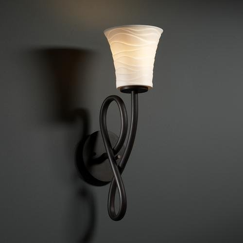 Justice Design POR-8911-22-LEAF-MBLK Capellini One Light Wall Sconce, Impression Option: Leaves Shade Impression, Choose Finish: Matte Black Finish, Choose Lamping Option: Standard Lamping - Capellini Matte