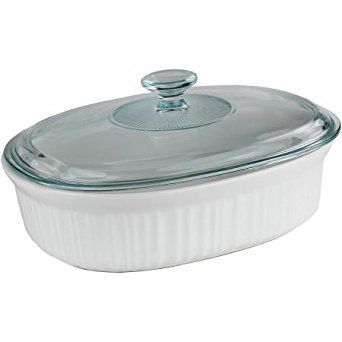 Corningware French White 2.5-Quart Oval Baking Dish with Glass Lid