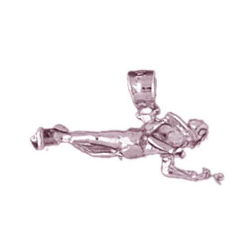 14k Rose Gold 3-D Scuba Diver Pendant (20 x 12 mm) by Noble Collections