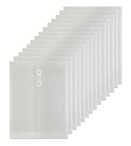 LaOficina Poly Envelopes with Button String Snap Closure 1 Inch Gusset Top Opening Letter Size 15 Per Pack Clear Button Closure Poly Envelope