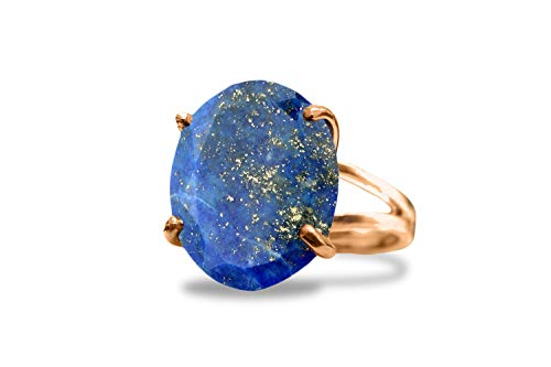 Anemone Jewelry 14K Rose Gold Ring - Sizes 3 To 12.5 14CT Lapis Gemstone Ring For Engagement, Birthday, Cocktail, Wedding, Casual Wear [Handmade]