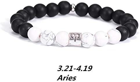 WHFDRHSZ Armband Armreifen Armbänder 12 Sternzeichen 8 Mm Naturstein Weiß Elastische Perlen Armbänder Vintage Konstellation Horoskop Armbänder Schmuck Für Männer Frauen