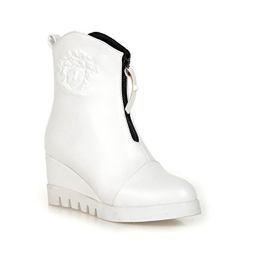 Imitated Leather Thick Platform Zipper AdeeSu Boots White Matching Back Color Womens Bottom Heel vwfUzx