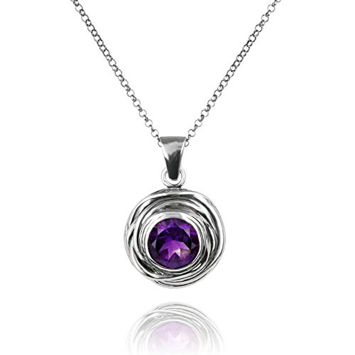 (Paz Creations 925. Sterling Silver Swirl Design Solitaire Gemstone Pendant Necklace (Amethyst))