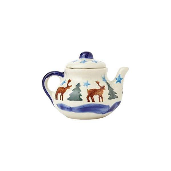 Polish Pottery Hand-Painted Reindeer Deer Pine Snowflake Teapot Ornament