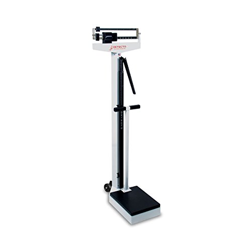 Detecto 448 Balance Beam Doctor/Physician Scale w/ Height Rod, Wheels & Hand Post, 400 lbs, Made in the ()