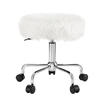 white frame office chair. stylish faux fur chromed metal frame backless home office chair in white