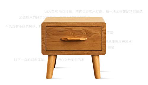 XIAZI Solid Wood Bedside Table Ash Coffee Locker Solid Drawer,Yellow ()
