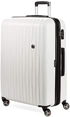SWISSGEAR 7272 Energie Hardside Polycarbonate Spinner, Large Checked Luggage – White
