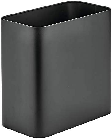 mDesign Rectangular Modern Metal Trash Can Wastebasket, Garbage Container Bin - for Bathrooms, Powder Rooms, Kitchens, Home Offices - Black