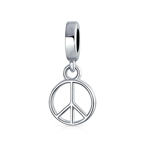 Dangle Symbol World Peace Sign Charm Bead For Women For Teen 925 Sterling Silver Fits European Bracelet