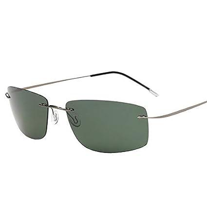 Young shinee Gafas de Deporte con Estuche Polarized Titanium Silhouette Gafas de Sol Polaroid Gafas Men Square Gafas de Sol Gafas de Sol para Hombres ...