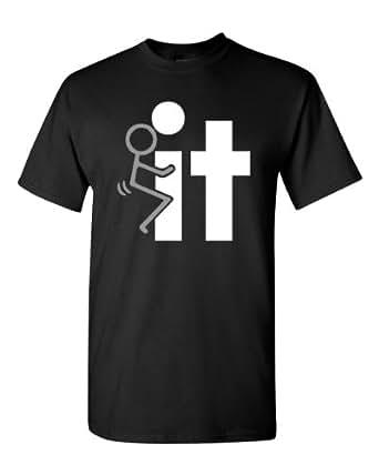 Fuck It Screw It Stick Figure Adult T-Shirt Tee (Small, Black)