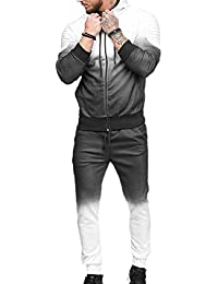 79a589fd130ef Men s Ombre Color Jogger Zip Up Outfits Sweatpants Coats Two Pcs Set Outfit