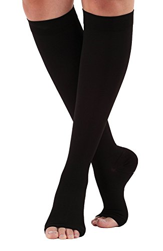 DANLOTE Knee High Firm Support Open Toe Compression Stockings,20-30mmHg, Medical Graduated Compression Socks,Best Support Socks Support Hose for Woman&Man (S, Black)