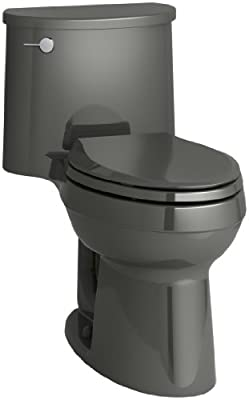KOHLER K-3946-58 Adair Comfort Height One-Piece Elongated 1.28 GPF Toilet with Aqua Piston Flush Technology and Left-Hand Trip Lever, Thunder Grey