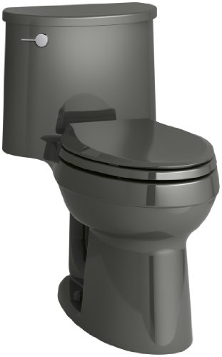 (KOHLER K-3946-58 Adair Comfort Height One-Piece Elongated 1.28 GPF Toilet with Aqua Piston Flush Technology and Left-Hand Trip Lever, Thunder)