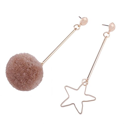 Coohole 1 Pair Women's Tennis Basketball Ball Asymmetry Fringed Hair Ball Ear Studs Dangle Earrings Chain Jewelry Gift Sport - Basketball Tigers Tigers Pendant