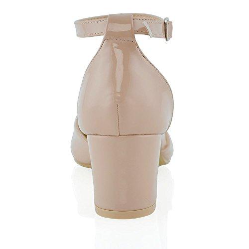 ESSEX GLAM Sintético Sandalias de salón de tacón medio cuadrado con tira al tobillo y hebilla Desnudo Patentar