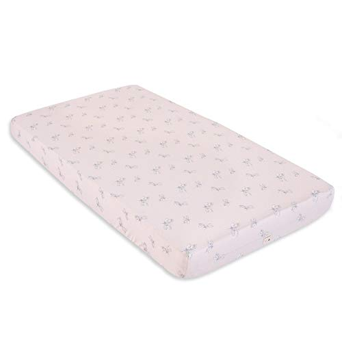 (Burt's Bees Baby - Fitted Crib Sheet, Girls & Unisex 100% Organic Cotton Crib Sheet for Standard Crib and Toddler Mattresses (Pink Dragon Fly))